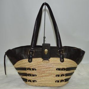 Jimmy Choo Large Straw Brown Leather Large tote